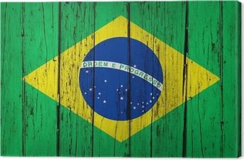Brasilien Flag Wood Background Fotolærred