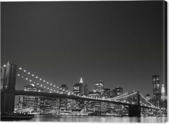 Brooklyn Bridge og Manhattan Skyline At Night, New York City Fotolærred