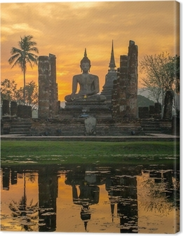 Buddha statue i Wat Mahathat tempel, Sukhothai Historical Park, Fotolærred