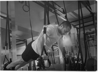Crossfit fitness TRX push ups mand træning Fotolærred