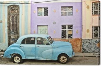 Cuba, La Habana, Broken Down Vintage Car Fotolærred