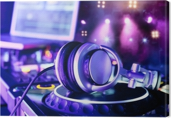 Dj mixer med hovedtelefoner Fotolærred