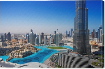 Downtown Dubai er et populært sted for shopping og sightseeing Fotolærred