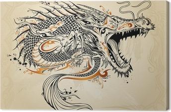 Dragon Doodle Sketch Tattoo Vector Fotolærred