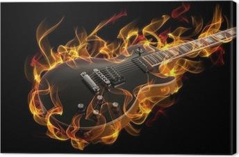 Elektrisk guitar i ild og flammer Fotolærred