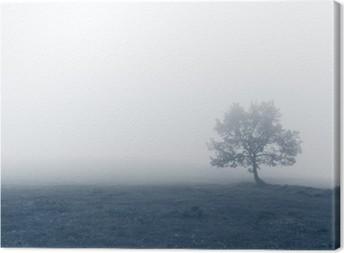 Ensomt træ med tåge Fotolærred