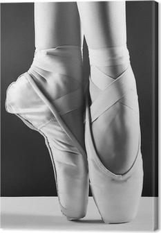 Et billede af ballerinas peger på sort baggrund Fotolærred