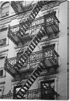 Façade avec escalier de secours noir et blanc - New York Fotolærred