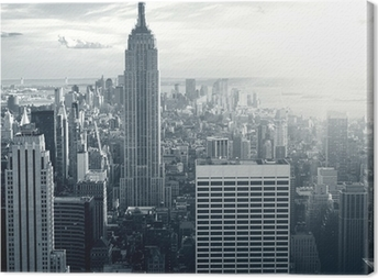 Fantastisk udsigt til New York Manhattan ved solnedgang Fotolærred