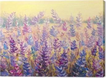 Felt af sarte blomster foran en skov. lavendel. blå-lilla blomster i sommer oliemaleri på lærred. impasto kunstværk. impressionisme kunst. Fotolærred