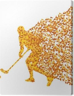 Floorball player vektor silhuet lavet af trekant fragmenter ve Fotolærred
