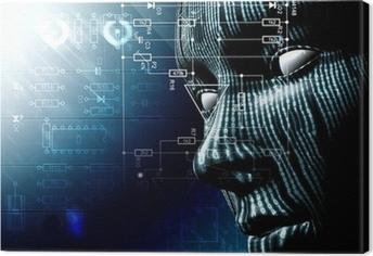 Fondo tecnologico con cara. Codigo binario, concepto de internet Fotolærred