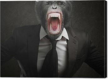 Frustreret Monkey In Business Suit Fotolærred