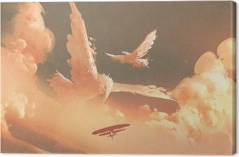 Fugle formet sky i solnedgang himmel, illustration maleri Fotolærred