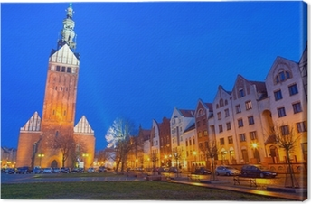Gamlebyen Elblag om natten i Polen Fotolærred