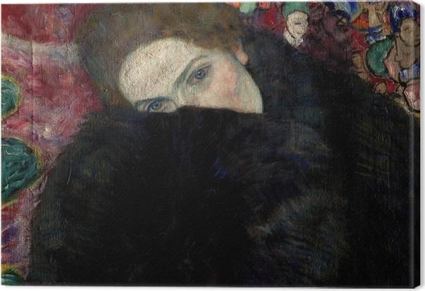 Gustav Klimt - Lady med Hat og Feather Boa Fotolærred -