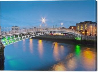 Ha'penny broen i Dublin om natten, Irland Fotolærred