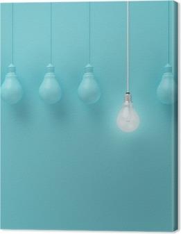 Hængelampe med glødende en anden ide på lyseblå baggrund, Minimal konceptidé, fladt lay, top Fotolærred