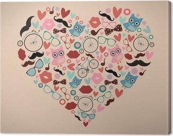Hipster Doodles Set i Heart Shape Fotolærred
