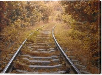 Jernbane spor i efteråret Fotolærred
