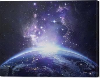 Jordudsigt fra rummet om natten - USA Fotolærred