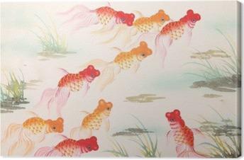 Kinesisk guldfisk maleri Fotolærred