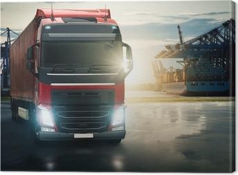 Lastbil ved havn Fotolærred