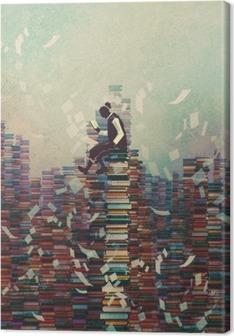 Mand læsebog mens du sidder på bunke af bøger, videns koncept, illustration maleri Fotolærred