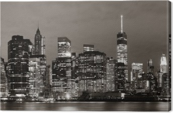 Manhattan om natten Fotolærred