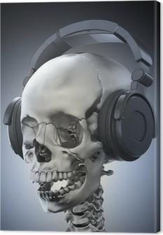 Menneskeskalle med hovedtelefoner Fotolærred