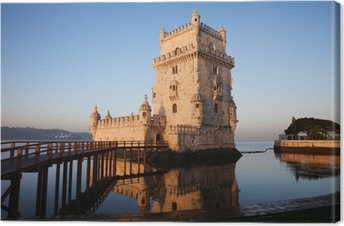 Morgen i Belem Tower i Lissabon Fotolærred