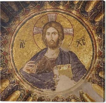 Mosaic of Christ Pantocrator i den sydlige kuppel af den indre narthex af Chora kirke, Istanbul, Tyrkiet. Fotolærred