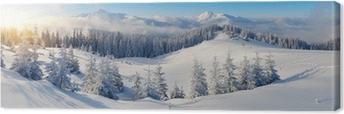 Panorama over vinterbjerge Fotolærred