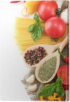 Pastaspaghetti, grøntsager og krydderier, isoleret på hvidt Fotolærred