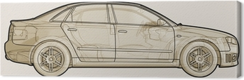 Perspektiv skitseret illustration af en Audi A4. Fotolærred