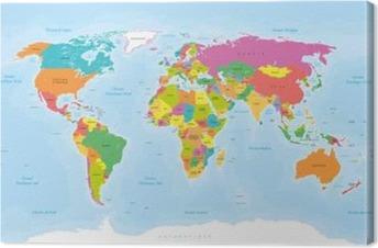 Planisphère Mappemonde. Tekstes en Français vectorisés Fotolærred