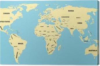 Politisk Kort Over Verden Fotolaerred Pixers Vi Lever For
