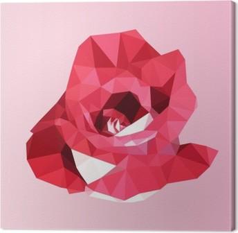 Polygonal rød rose. poly lav geometrisk trekant blomst vektor Fotolærred