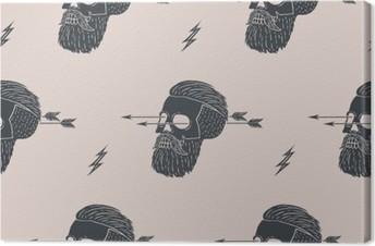Problemfri mønster baggrund af vintage kranium hipster med pil. Grafisk design til indpakningspapir og stoftekstur af skjorte. Vektor illustration Fotolærred