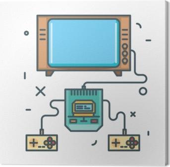 Retro spilkonsol med joysticks og gammelt tv. line art vektor illustration Fotolærred