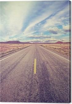 Retro stiliseret ørken motorvej, rejse eventyr koncept. Fotolærred