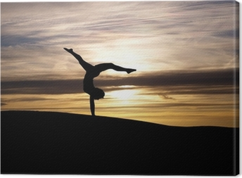Silhuet af gymnast i solnedgang Fotolærred