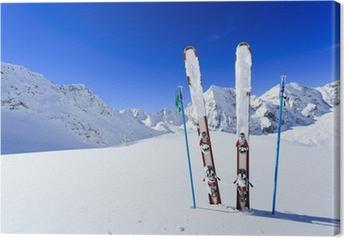 Ski, vintersæson, bjerge og skiudstyr Fotolærred