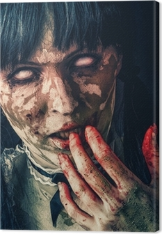 Skræmmende zombie kvinde med blodige øjne Fotolærred