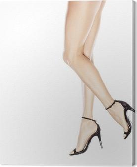 7ca72b5f7799 Smukke kvindelige ben i elegante sandaler med høje hæle Fotolærred •  Pixers® - Vi lever for forandringer