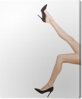 588141bc5dfb Kvindeben iført røde høje hæle isoleret på hvid baggrund. Fotolærred •  Pixers® - Vi lever for forandringer