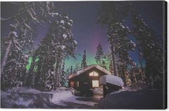 Smukt billede af massiv flerfarvet, grøn, levende Aurora Borealis, Aurora Polaris, kender også som nordlys i nathimlen over vinteren Lapplandslandskabet, Norge, Skandinavien Fotolærred