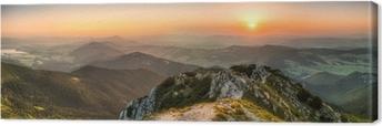Solnedgang landskab Fotolærred