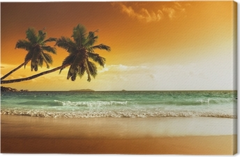 Solnedgang på stranden af Caribiske Hav Fotolærred