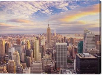 Solnedgang udsigt over New York City kigger over Midtown Manhattan Fotolærred
